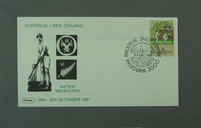 First day cover, Australia v New Zealand - Melbourne, 30 Dec 1987