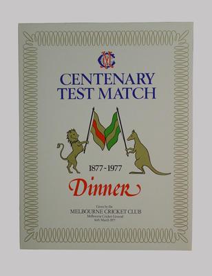 Menu, Melbourne Cricket Club Centenary Test Match Dinner