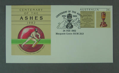 First day cover commemorating the Centenary of the Ashes, 1982