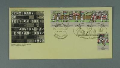 First day cover, Centenary of Test Cricket stamp issue - 9 Mar 1977