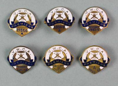 Six premiership badges, Victorian Women's Cricket Association; Trophies and awards; M5539