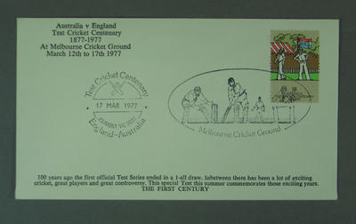 First day cover, Test Cricket Centenary - 17 Mar 1977