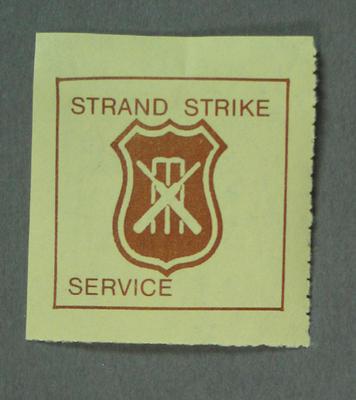 "Postage label, ""Strand Strike Service"""