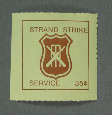 "Postage label, ""Strand Strike Service""; Documents and books; M5548.2"