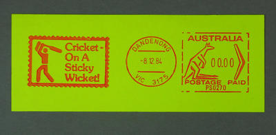 "Postage label, ""Cricket - on a Sticky Wicket!"" - Dandenong, 8 Dec 1984"