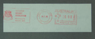 "Postage label, ""Victorian Cricket Association"" - East Melbourne, 18 Jul 1985"