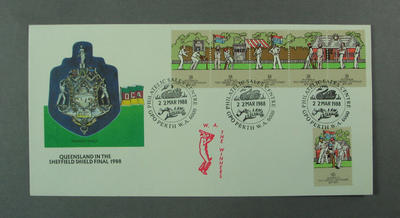 First day cover, Queensland in the Sheffield Shield Final - Perth, 22 Mar 1988