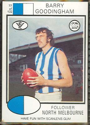 1975 Scanlens VFL Football Barry Goodingham trade card