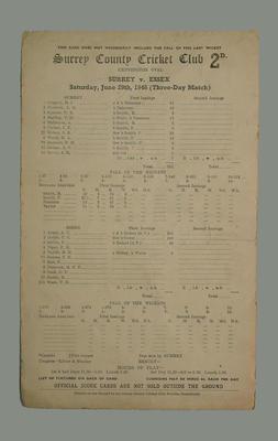 Scorecard, Surrey County Cricket Club v Essex - 1946; Documents and books; M5555.6