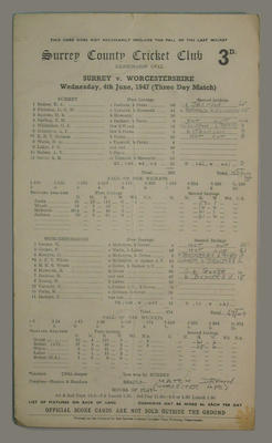 Scorecard, Surrey County Cricket Club v Worcestershire - 1947; Documents and books; M5555.33