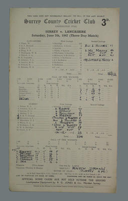 Scorecard, Surrey County Cricket Club v Lancashire - 1947; Documents and books; M5555.37