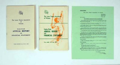Annual reports for Lawn Tennis Association of Victoria, 1968 & 1974