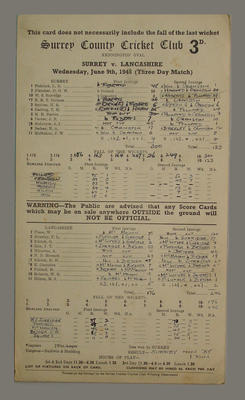 Scorecard, Surrey County Cricket Club v Lancashire - 1948; Documents and books; M5555.58