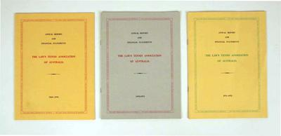 Annual reports for Lawn Tennis Association of Victoria, 1969-70; 1970-71 & 1971-72