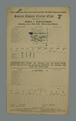 Scorecard, Surrey County Cricket Club v Warwickshire - 1948; Documents and books; M5555.61