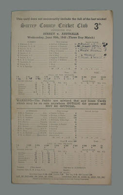 Scorecard, Surrey County Cricket Club v Australia - 1948