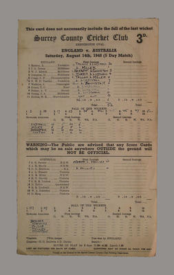 Scorecard, England v Australia - 1948