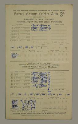 Scorecard, England v New Zealand - 1949