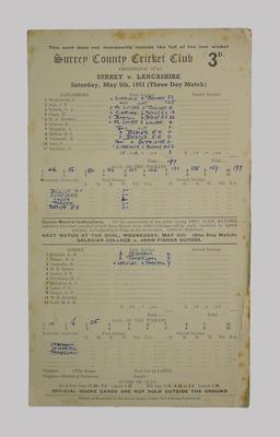 Scorecard, Surrey County Cricket Club v Lancashire - 1951; Documents and books; M5555.100