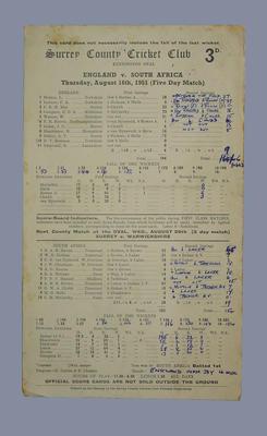 Scorecard, England v South Africa - 1951