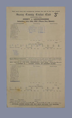 Scorecard, Surrey County Cricket Club v Leicestershire - 1953; Documents and books; M5555.117