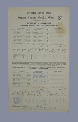 Scorecard, England v Australia - 1953