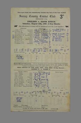 Scorecard, England v South Africa - 1955