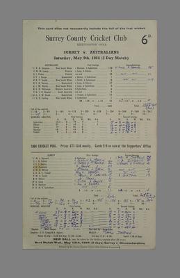 Scorecard, Surrey County Cricket Club v Australians - 1964