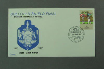 First day cover, Sheffield Shield Final - Perth, 20 Mar 1987; Philatelics and currency; M5556