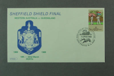 First day cover, Sheffield Shield Final - Perth, 18 Mar 1988; Philatelics and currency; M5557