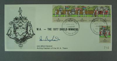 First day cover, Western Australia Sheffield Shield winners - Perth, 9 Mar 1977