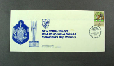First day cover, New South Wales 1984-85 Sheffield Shield & McDonald's Cup winners - Sydney, 4 Dec 1985