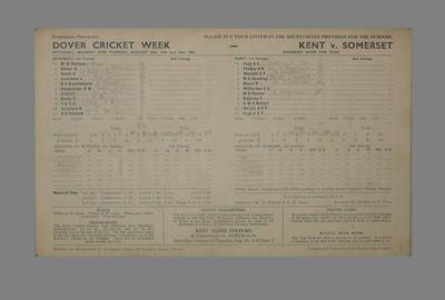 Scorecard for cricket match between Kent and Somerset, Dover Cricket Week, 1953; Documents and books; M5560.1
