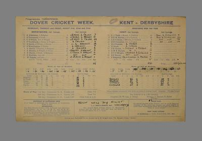 Scorecard for cricket match between Kent and Derbyshire, Dover Cricket Week, 1947; Documents and books; M5560.3