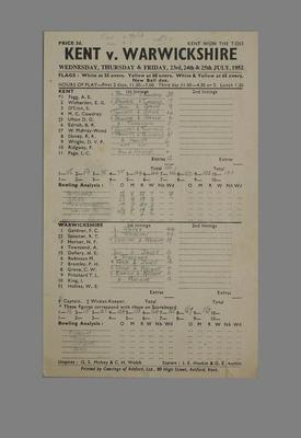 Scorecard for cricket match between Kent and Warwickshire, 1952; Documents and books; M5561.2