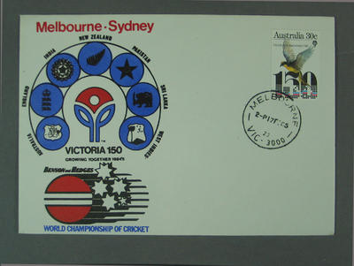 First day cover, Victoria 150th Anniversary - World Championship of Cricket, 17 Feb 1985