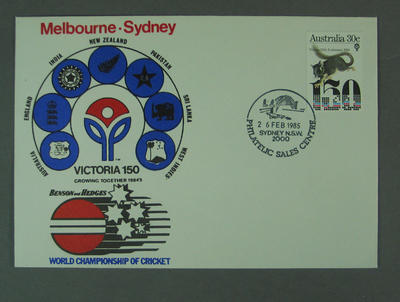 First day cover, Victoria 150th Anniversary - World Championship of Cricket, 26 Feb 1985