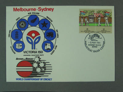 First day cover, Victoria 150th Anniversary - World Championship of Cricket, 5 Mar 1985