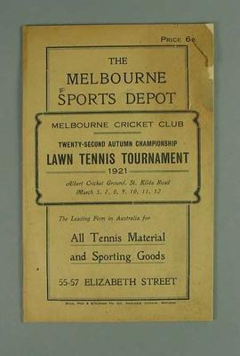 Programme for MCC Autumn Championship Lawn Tennis Tournament, March 1921