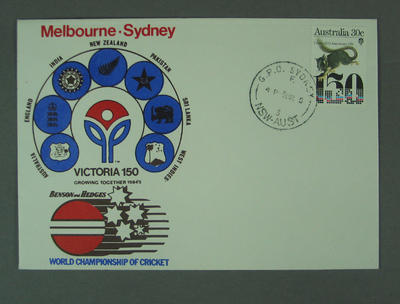 First day cover, Victoria 150th Anniversary - World Championship of Cricket, 9 Mar 1985