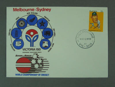 First day cover, Victoria 150th Anniversary - World Championship of Cricket, 10 Mar 1985