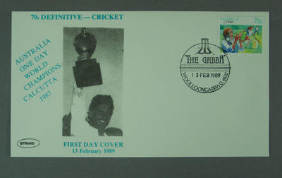 First day cover, Australia 1987 One Day World Champions - Woolloongabba, 13 Feb 1989