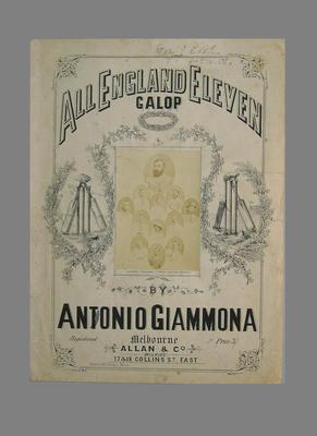 """Sheet music, """"All England Eleven Galop""""; Documents and books; M5578"""