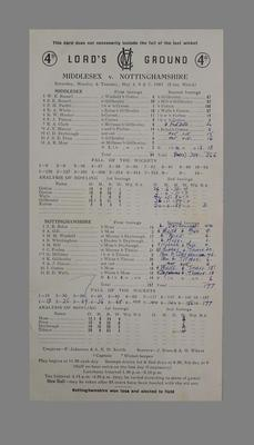 Lord's Ground Scorecard: Middlesex v Nottinghamshire, 4-7 May 1963; Documents and books; M5579.2