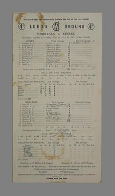 Lord's Ground Scorecard: Middlesex v Sussex, 20-23 May 1961; Documents and books; M5579.4