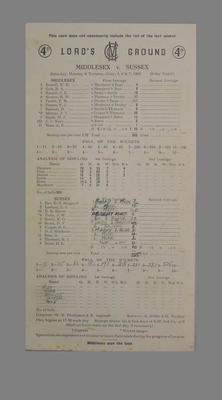 Lord's Ground Scorecard: Middlesex v Sussex, 4-7 June 1960; Documents and books; M5579.5