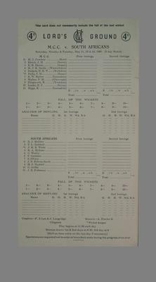 Lord's Ground Scorecard:  M.C.C. v  South Africans, 21-24 May 1960; Documents and books; M5579.6