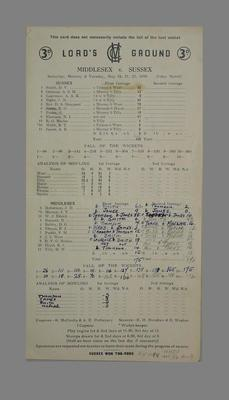 Lord's Ground Scorecard:  Middlesex v Sussex, 19-22  May 1956; Documents and books; M5579.8
