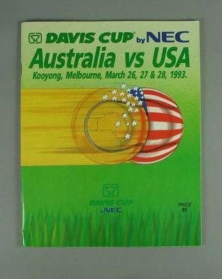 Programme for Australia v USA Davis Cup tie, 26-28 March 1993