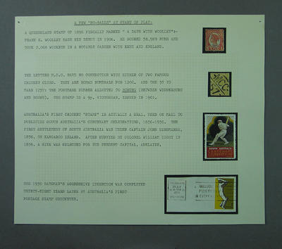 Stamp album page, early Australian cricket issues; Philatelics and currency; Documents and books; M5582